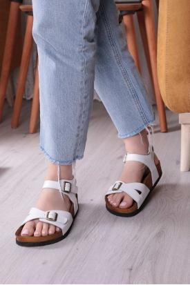 Hakiki Deri Beyaz Kadın Düz Sandalet 211124515