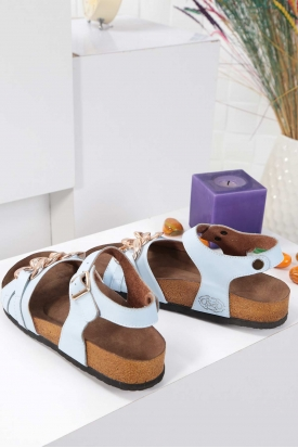 Hakiki Deri Bebe Mavi Kadın Spor Sandalet 211124516