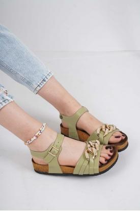 Hakiki Deri Avakado Kadın Spor Sandalet 211124516