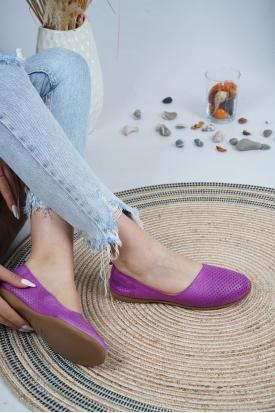 Hakiki Deri Mor Kadın Babet Ayakkabı 126-001