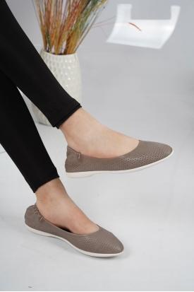 Hakiki Deri Kum Kadın Babet Ayakkabı 126-005.DB-04