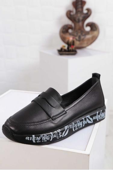 Hakiki Deri Siyah Kadın Babet Ayakkabı 212126103
