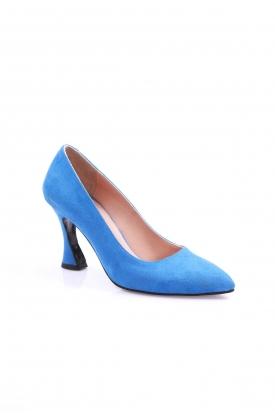 Mavi Süet Kadın Stiletto Ayakkabı 202127103