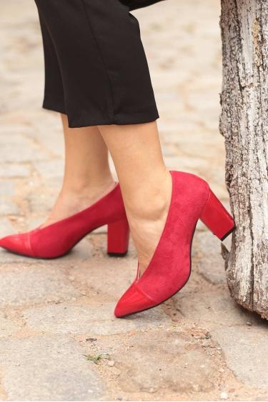 Kırmızı Süet-Kırmızı Rugan Kadın Stiletto Ayakkabı 202127104