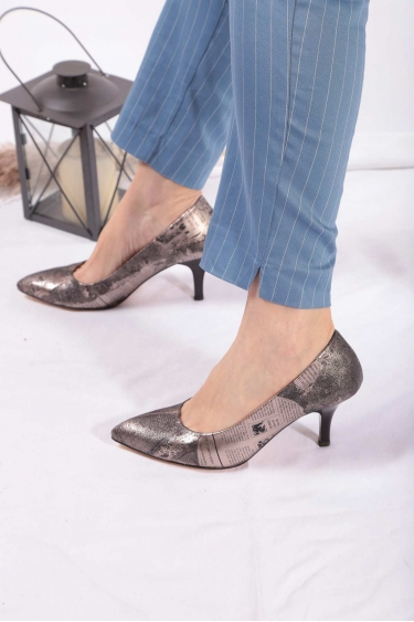 Platin Baskı Kadın Stiletto Ayakkabı 202127115