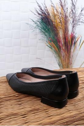 Hakiki Deri Siyah Kadın Babet Ayakkabı 211127109