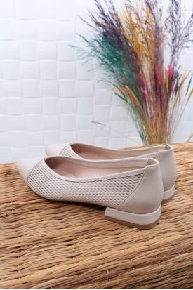 Hakiki Deri Bej Kadın Babet Ayakkabı 211127109