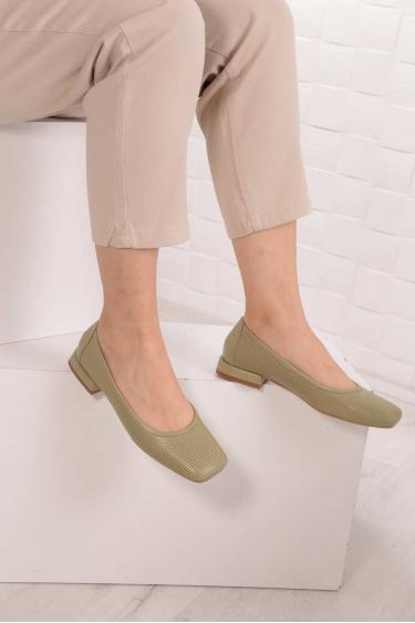 Hakiki Deri Yeşil Kadın Babet Ayakkabı 211127115