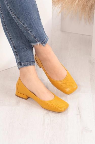 Hakiki Deri Hardal Kadın Babet Ayakkabı 211127115