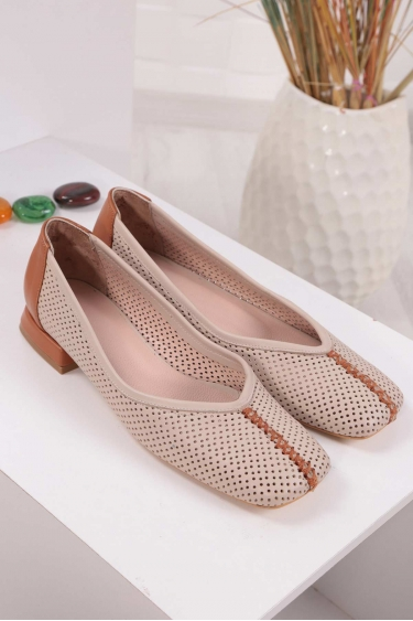 Hakiki Deri Bej-Taba Kadın Babet Ayakkabı 211127117