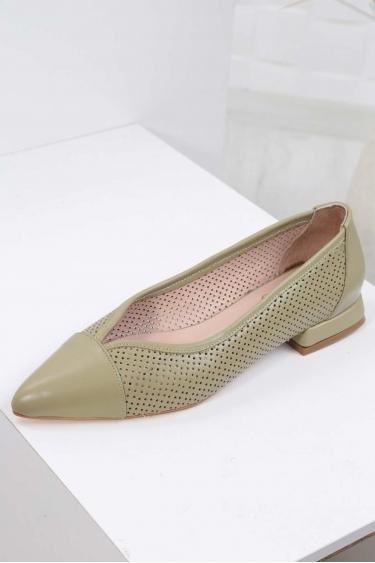 Hakiki Deri Yeşil Kadın Babet Ayakkabı 211127118