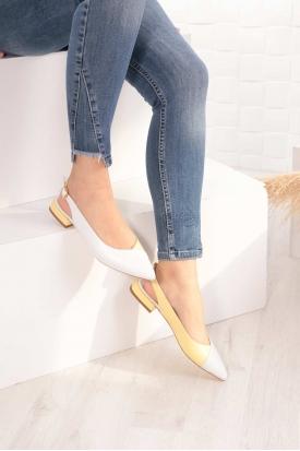 Hakiki Deri Beyaz-Limon Sarısı Kadın Burun Kapalı Sandalet 211127508