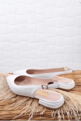 Hakiki Deri Beyaz Kadın Burun Kapalı Sandalet 211127510
