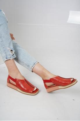 Hakiki Deri Kırmızı Kadın Düz Sandalet 211127512