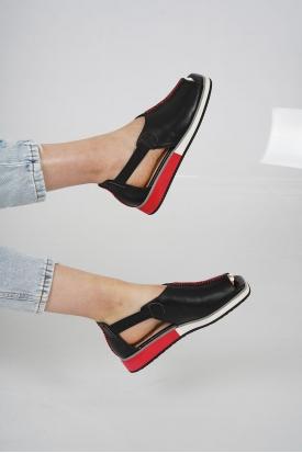 Hakiki Deri Siyah Kadın Düz Sandalet 211127512