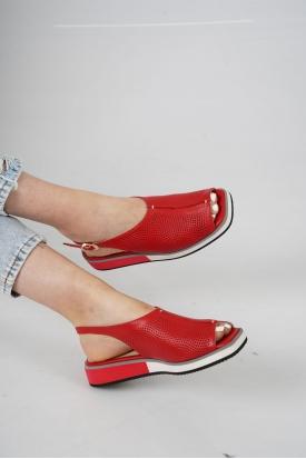 Hakiki Deri Kırmızı Kadın Düz Sandalet 211127515