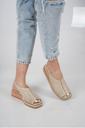 Hakiki Deri Bej Kadın Düz Sandalet 211127515