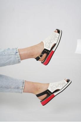 Hakiki Deri Beyaz-Siyah Kadın Düz Sandalet 211127520