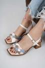 Hakiki Deri Beyaz-Pudra-Mavi-A.Vizon Kadın Topuklu Sandalet 211127526