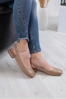Hakiki Deri Açık Vizon Kadın Burun Kapalı Sandalet 211127529