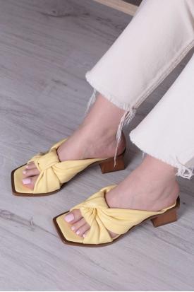 Hakiki Deri Limon Sarısı Kadın Topuklu Terlik 211127605