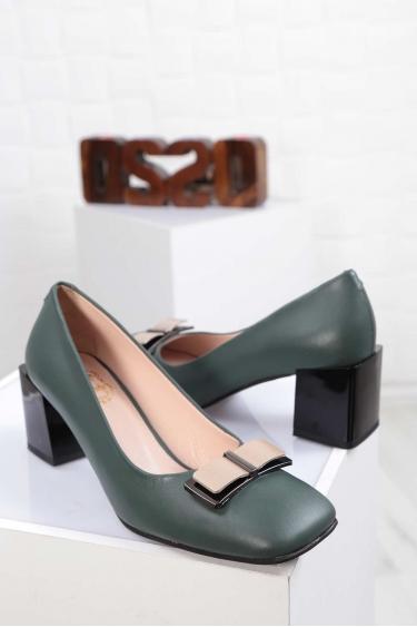 Hakiki Deri Yeşil Kadın Topuklu Ayakkabı 212127101