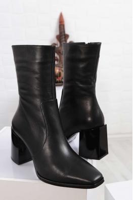 Hakiki Deri Kürklü Siyah Kadın Topuklu Bot 212127230