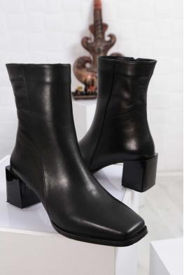 Hakiki Deri Kürklü Siyah Kadın Topuklu Bot 212127229