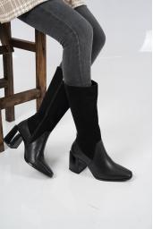 Hakiki Deri Siyah Nubuk-Siyah Kadın Düz Çizme 212127314