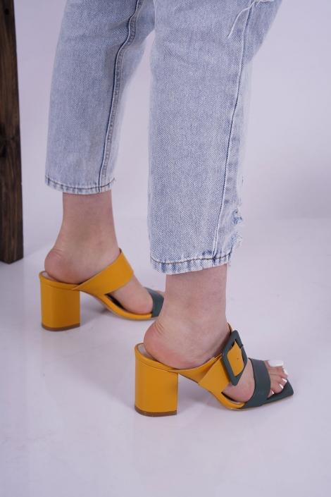 Hakiki Deri Sarı-Yeşil Kadın Topuklu Terlik 221127606