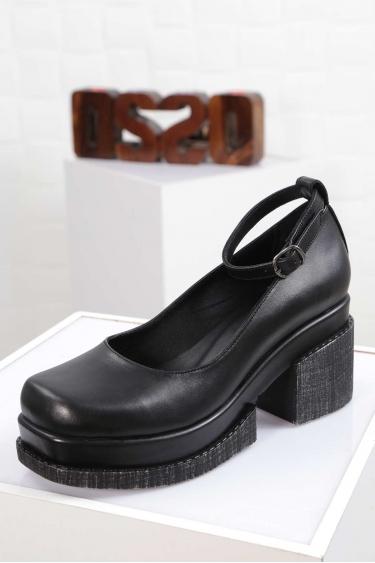 Hakiki Deri Siyah Kadın Topuklu Ayakkabı 212133101