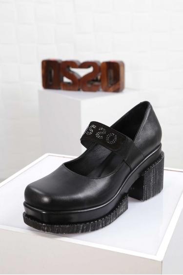 Hakiki Deri Siyah Kadın Topuklu Ayakkabı 212133102