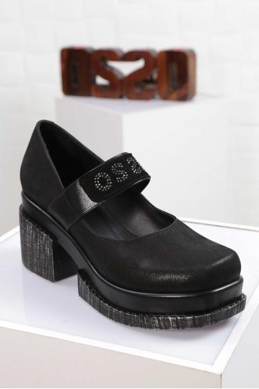 Hakiki Deri Siyah Saten Kadın Topuklu Ayakkabı 212133102