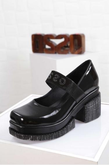 Hakiki Deri Siyah Rugan Kadın Topuklu Ayakkabı 212133102