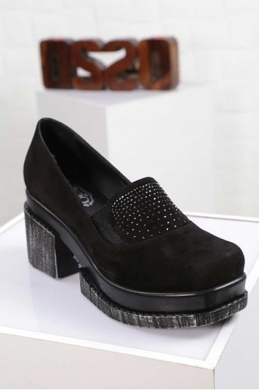 Hakiki Deri Siyah Süet Kadın Topuklu Ayakkabı 212133103