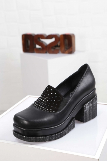 Hakiki Deri Siyah Kadın Topuklu Ayakkabı 212133104