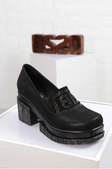 Hakiki Deri Siyah Saten Kadın Topuklu Ayakkabı 212133104