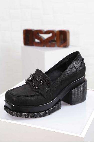 Hakiki Deri Siyah Saten Kadın Topuklu Ayakkabı 212133105