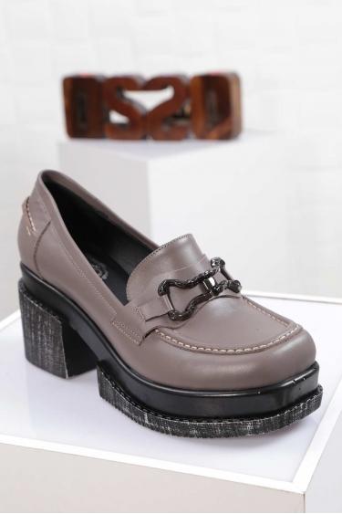 Hakiki Deri Koyu Vizon Kadın Topuklu Ayakkabı 212133105
