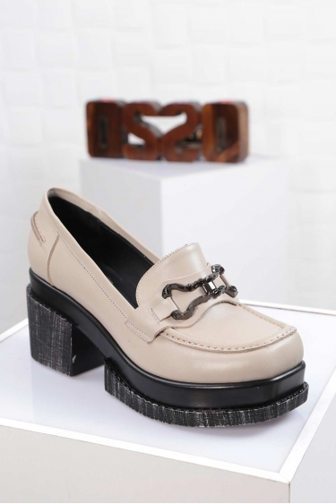 Hakiki Deri Bej Kadın Topuklu Ayakkabı 212133105