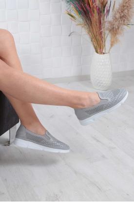 Hakiki Deri Gri Kadın Comfort Ayakkabı 211134101