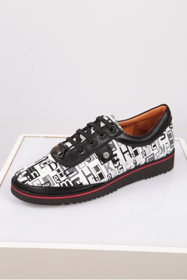 Hakiki Deri Beyaz Baskılı Kadın Comfort Ayakkabı 212134107