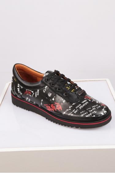 Hakiki Deri Siyah Baskı1 Kadın Comfort Ayakkabı 212134107