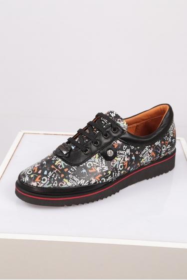 Hakiki Deri Siyah Love Baskı Kadın Comfort Ayakkabı 212134107