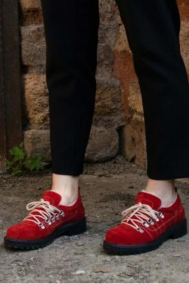 Hakiki Deri Kırmızı Süet Kadın Oxford Ayakkabı 202135102