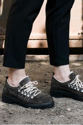 Hakiki Deri Haki Süet Kadın Oxford Ayakkabı 202135102