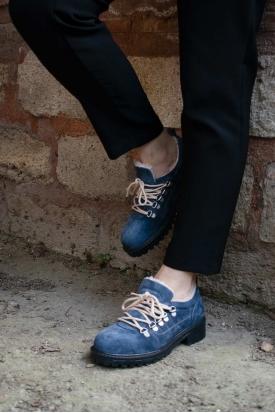 Hakiki Deri Kot Mavi Kadın Oxford Ayakkabı 202135102