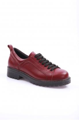 Hakiki Deri Bordo Kadın Oxford Ayakkabı 202135101