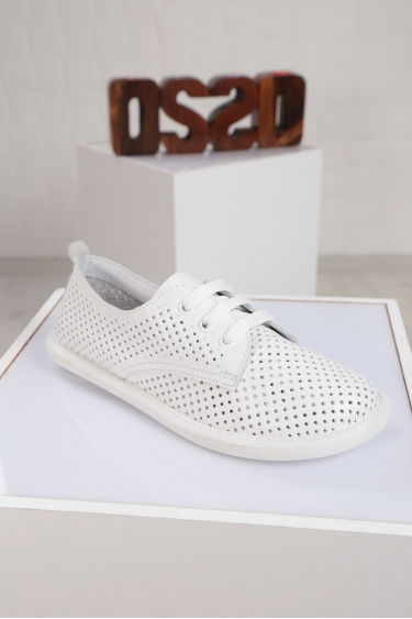 Hakiki Deri Beyaz Floter Kadın Sneaker Ayakkabı 221135103