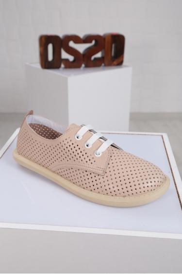 Hakiki Deri Bej Floter Kadın Sneaker Ayakkabı 221135103